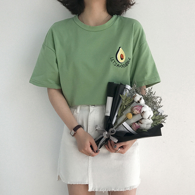 5b6dcdfe5c0 2018 New Style Summer Cute Avocado Embroidery Short Sleeve T-shirt Womens  Small Fresh Casual Tees Tops Female Loose T Shirt - Fabtag