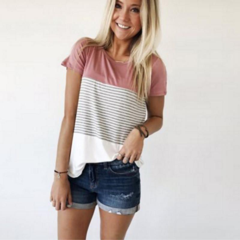 14e22e97499 Women 2018 New Summer Fashion T-shirt O-Neck Short Sleeve Striped T ...