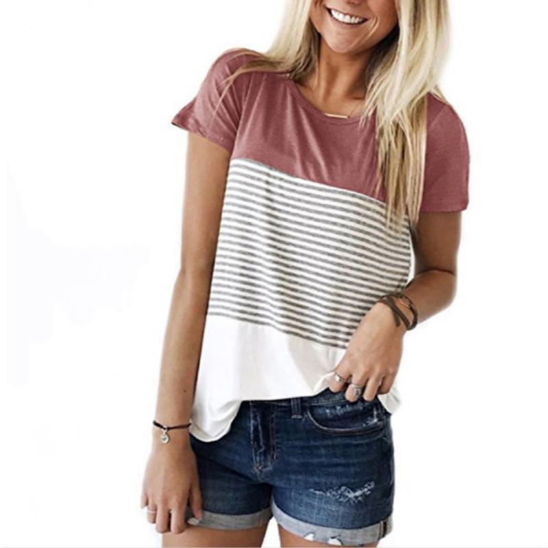 d9d3770cb4f4 Women New Summer Fashion T-shirt O-Neck Short Sleeve Striped T ...