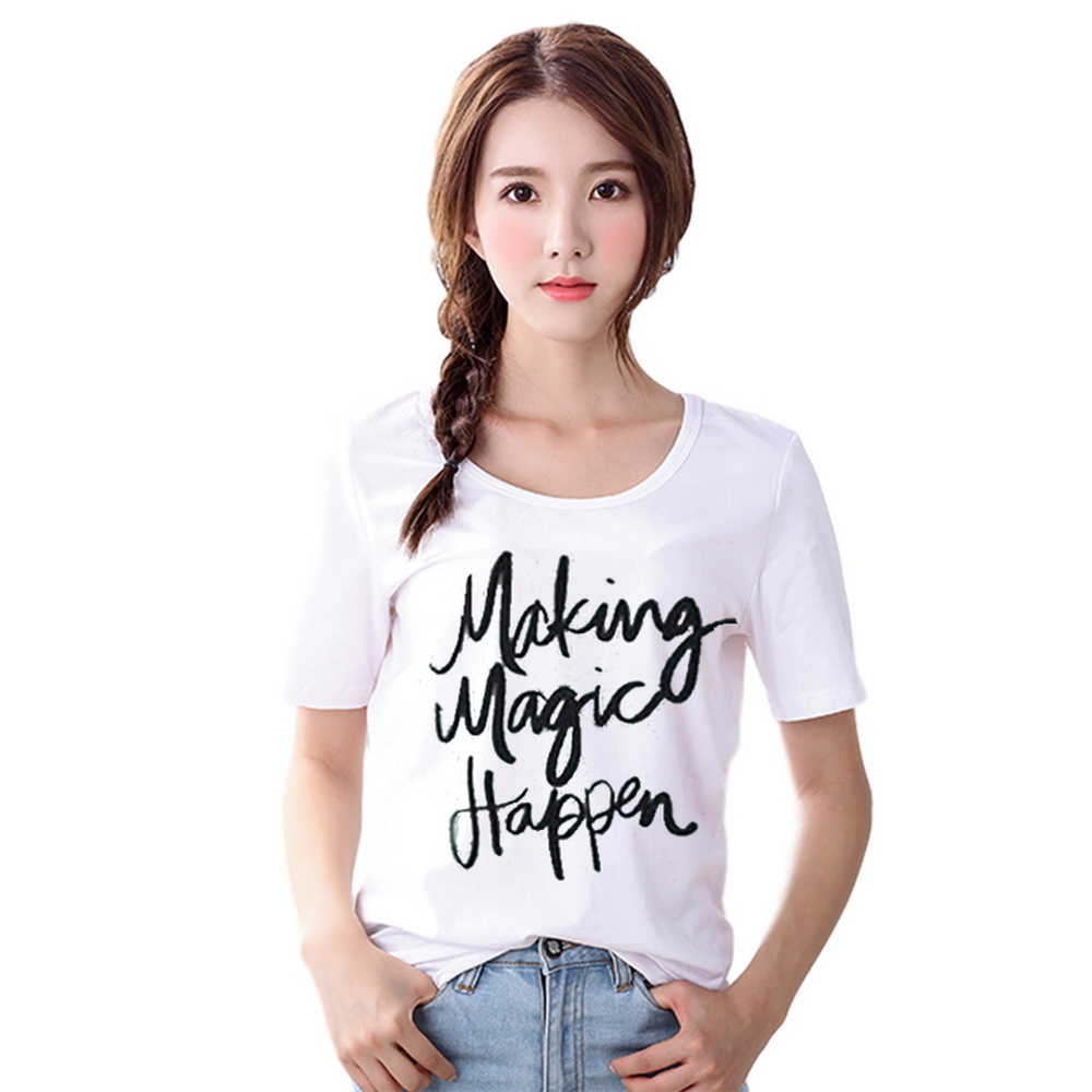 02536f2b238a Summer Korean Style Female T-shirt Casual Lady Short sleeve Top Tee ...