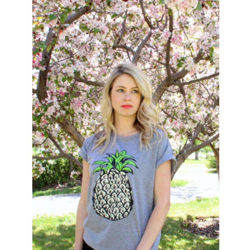 04effb9fa97 2018 Summer Women Korean style Fruit Print Pineapple Female T-shirt ...
