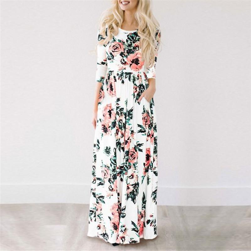 2018 Summer Long Dress Floral Print Boho Beach Dress Tunic Maxi Dress Women  Evening Party Dress Sundress Vestidos de festa XXXL c7c75acad1ad