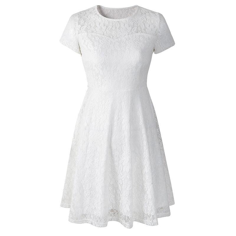 468d48f00b4f 2018 Fashion Women Elegant Sweet Hallow Out Lace Dress Sexy Party ...