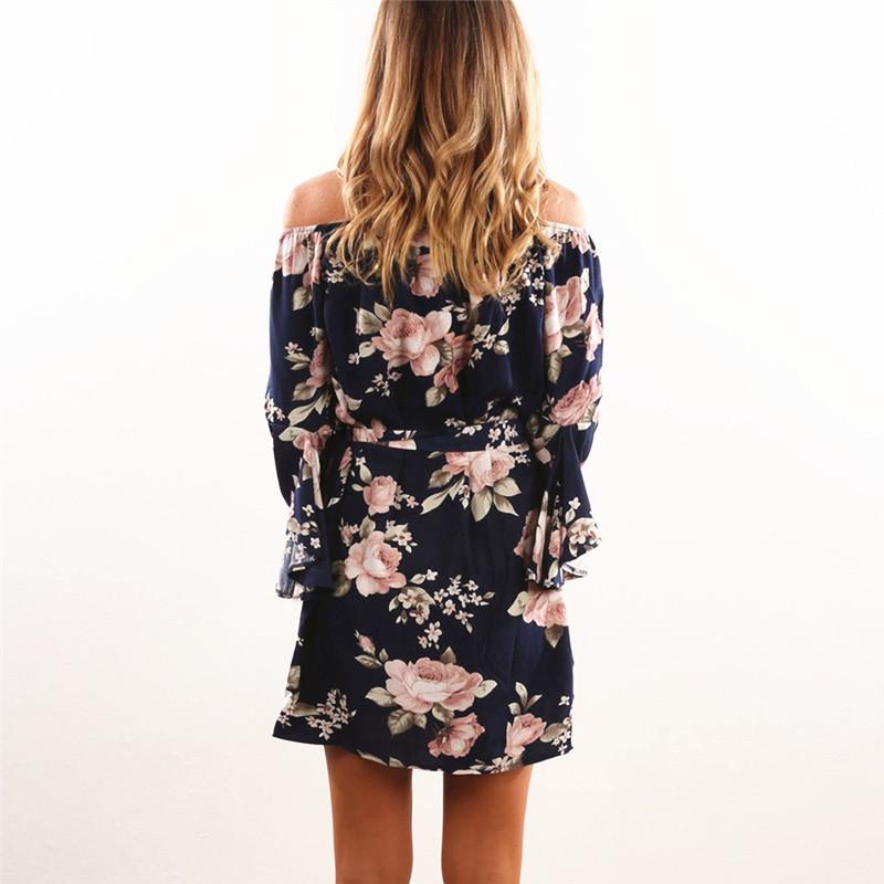 6be0c2eb4cc1 Women Dress 2018 Summer Sexy Off Shoulder Floral Print Chiffon Dress ...