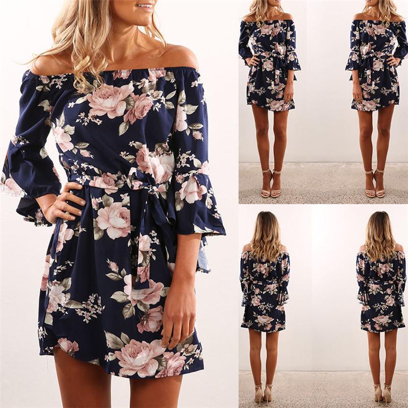 Women Dress 2018 Summer Sexy Off Shoulder Floral Print Chiffon Dress ... b49ffe9f63b0