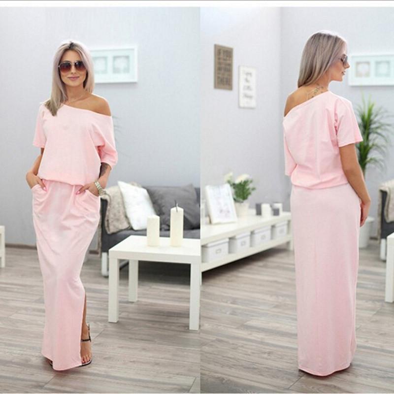 Sexy Summer Women Boho Maxi Dress Short Sleeve Side Slit Loose Evening Party Long Beach Dress With Pocket Vestidos Women's Clothing