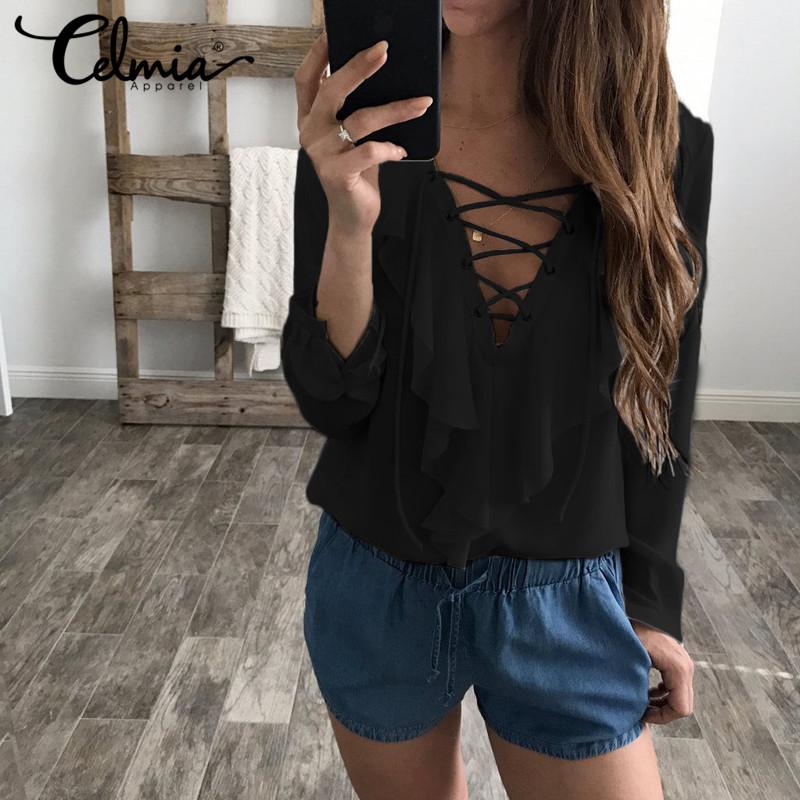 d4fb43bca51 Sexy Top Women Chiffon Blouse 2018 Celmia Summer Autumn Lace Up V ...