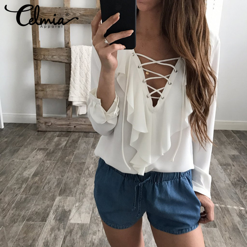 95f872f9637 Sexy Top Women Chiffon Blouse 2018 Celmia Summer Autumn Lace Up V Neck  Ruffles Long Sleeve Shirt Casual Plus Size Blusa Feminina - Fabtag