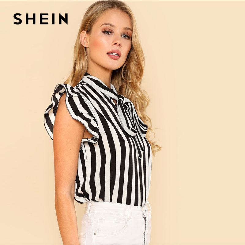 19478c3972 SHEIN Summer Top Elegant Work Women Blouses Cap Sleeve Black and ...