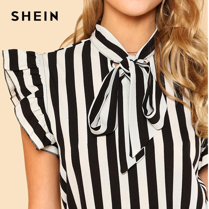 8539919b82 SHEIN Summer Top Elegant Work Women Blouses Cap Sleeve Black and ...